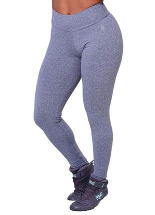 Calca legging feminina fitness alta compressão grossa suplex poliamida academia cinza