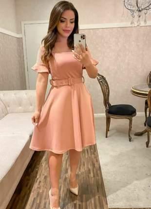 Vestido luxo neopreme núde com cínto