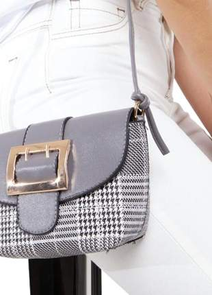 Bolsa feminina pequena xadrez quintess cinza