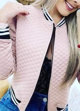 Jaqueta bomber nude moda inverno feminina