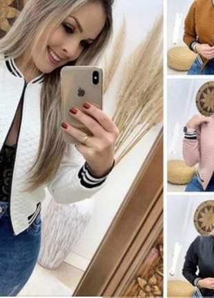 Jaqueta offwhite bomber feminina moda inverno