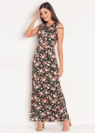 Vestido longo com tule floral