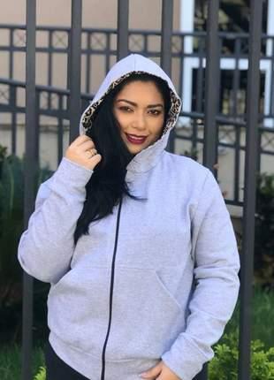 Blusa moletom cinza zíper moda feminina capuz onça