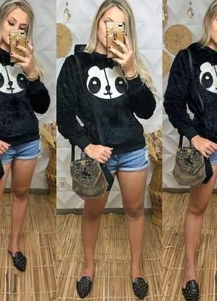 Blusa panda pelúcia quentinha casaco moda feminina