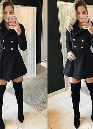 Sobretudo casaco matelassê botões moda feminina