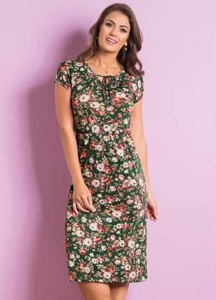 Vestido com amarração floral
