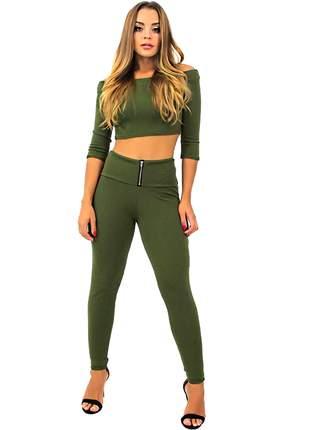 Conjunto feminino cropped top e calça cintura alta entrega imediata