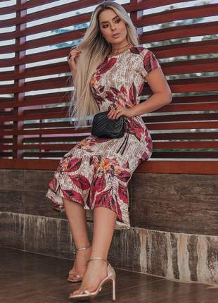 Vestido floral c/ babado