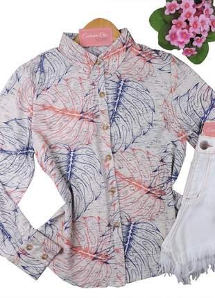 Camisa social feminina estampa folhas manga longa cs47