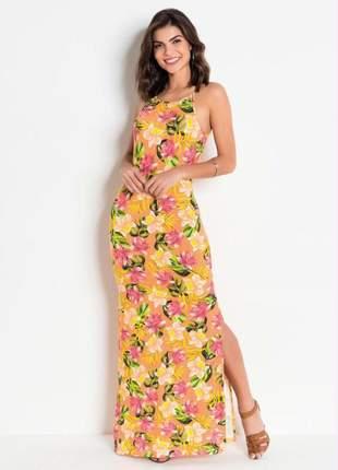 Vestido longo de alças e fendas floral