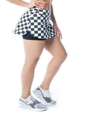 Short saia fitness quadriculada