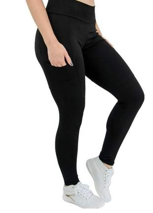Calça legging montaria com bolso poliamida