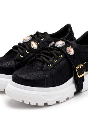 Tênis sneakers chuncky recortes preto com pedras strass