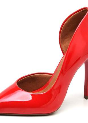 Sapato feminino scarpins aberto lateral verniz vermelho salto alto