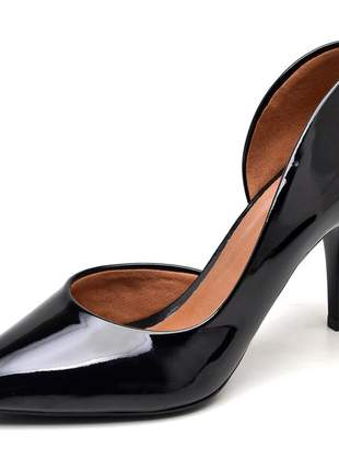 Sapato feminino scarpins aberto lateral verniz preto salto médio