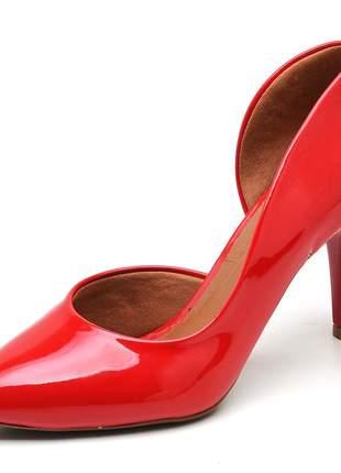 Sapato feminino scarpins aberto lateral verniz vermelho salto médio
