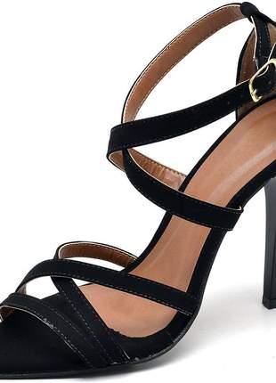 Sandália social bico finofeminina tiras trançadas salto alto fino nobuck