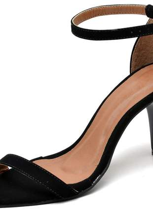 Sandália feminina tira bico fino salto medio fino preto nobuck