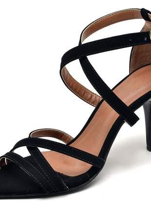 Sandália social bico fino tiras cruzadas salto médio fino nobuck preto