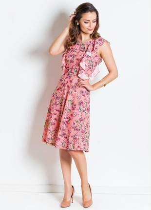 Vestido floral salmão com babado moda evangélica
