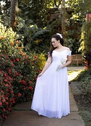 Vestido branco plus noiva casamento civil cartório festa longo princesa