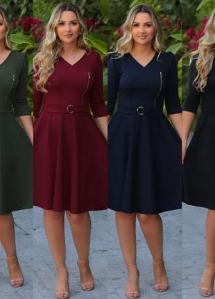 Kit 4 vestidos femininos evangélicos festividades godê executivo cinto de brinde promoção