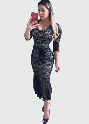Vestido boutelle midi de festa renda premium babado preto