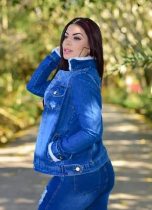 Casaco jaqueta jeans manga e gola com pelucia pelo pelinho botões