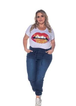 Calça jeans plus jogger elastico na perna com lycra azul escuro
