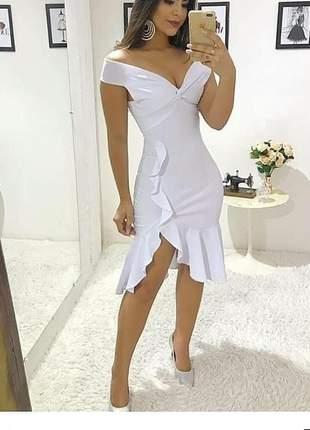 Vestido midi casamento civil cartório noivas offwhite