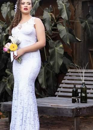 Vestido noiva em renda casamento civil cartório branco
