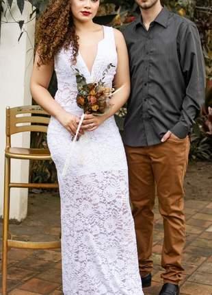 Vestido de casamento noiva branco renda barato cartório civil festa reveillon romântico