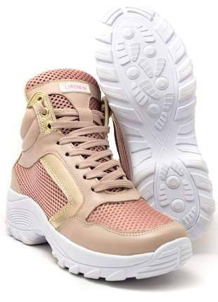 Tênis feminino chunky sneaker lirom lingua alta casual em couro rosê/dourado
