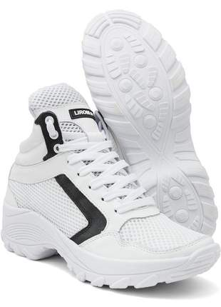 Tênis feminino sneaker lirom lingua alta casual em couro branco
