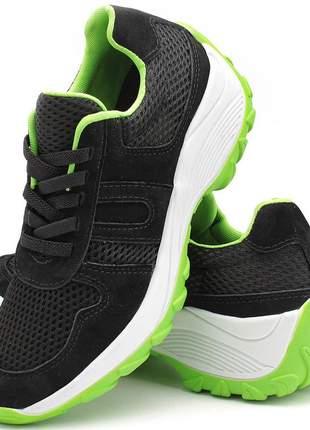 Tenis feminino lirom casual caminhadas leve confortável preto/verde