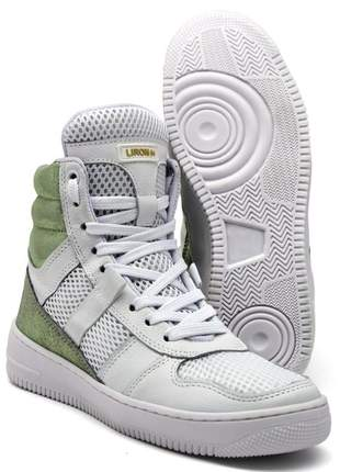 Tenis feminino de treino sneakers lirom fitness couro branco/verde