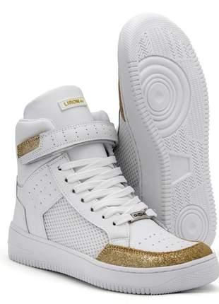Tenis feminino sneakers lirom fit em couro cano alto branco/dourado