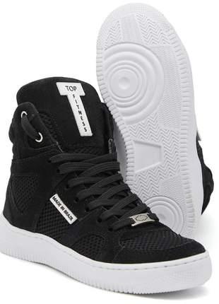 Tenis botinhas sneakers cano alto top fitness preto/branco