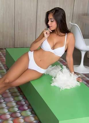 Conjunto lingerie sexy noiva em tule e renda