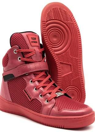 Tenis botinhas de treino top fitness cano alto em couro vermelho