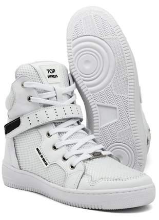 Tenis botinhas sneaker top fitness cano alto em couro branco