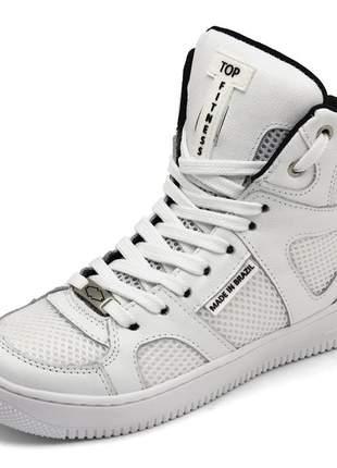 Tenis bota sneakers cano alto top fitness branco
