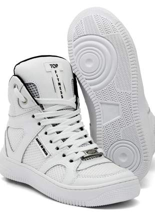 Tenis bota sneakers cano alto top fitness branco