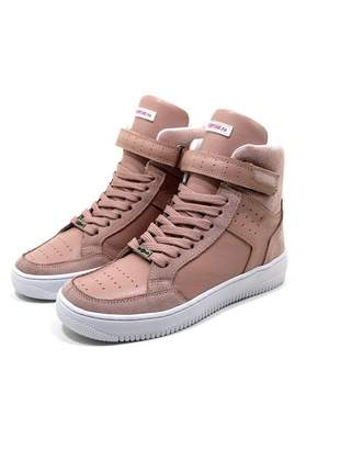 Tenis botinha feminina sneakers lirom fit em couro rosê