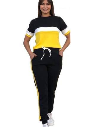 Conjunto crepe feminina blusa manga curta calça inverno