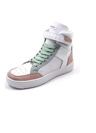Tenis botinha sneaker lirom fit em couro super conforto e luxo
