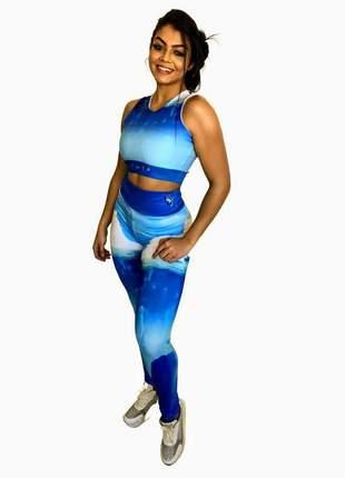 Conjunto fitness feminino | legging e top academia | elemento água (iceberg)