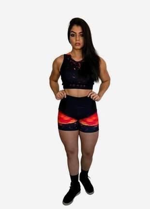 Conjunto fitness feminino | short e top academia | elemento fogo (vulcão)
