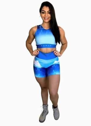 Conjunto fitness feminino | short e top academia | elemento água (iceberg)