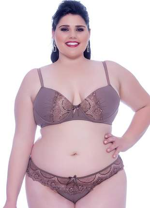 Conjunto lingerie plus size franzida com renda